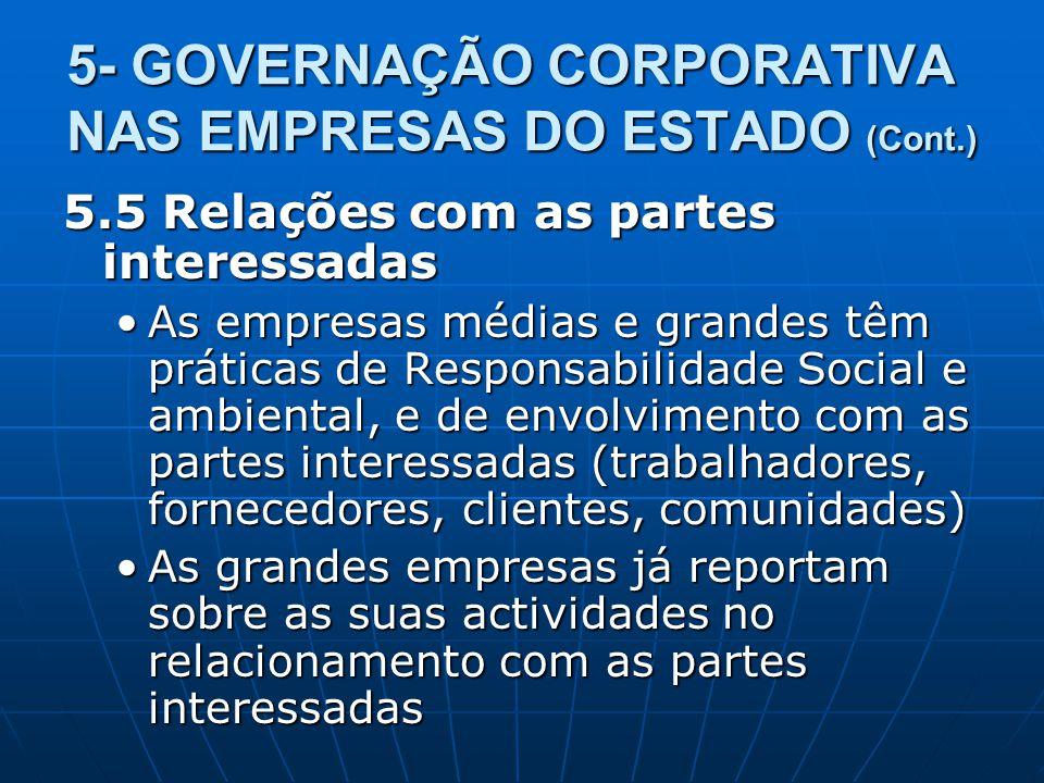 5- GOVERNAÇÃO CORPORATIVA NAS EMPRESAS DO ESTADO (Cont.) 5.5 Relações com as partes interessadas As empresas médias e grandes têm práticas de Responsa