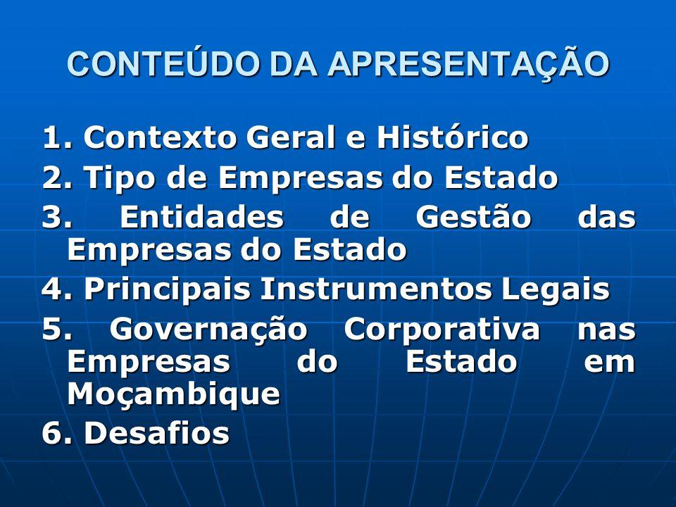 CONTEÚDO DA APRESENTAÇÃO 1. Contexto Geral e Histórico 2. Tipo de Empresas do Estado 3. Entidades de Gestão das Empresas do Estado 4. Principais Instr