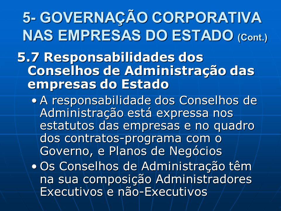 5- GOVERNAÇÃO CORPORATIVA NAS EMPRESAS DO ESTADO (Cont.) 5.7 Responsabilidades dos Conselhos de Administração das empresas do Estado A responsabilidad