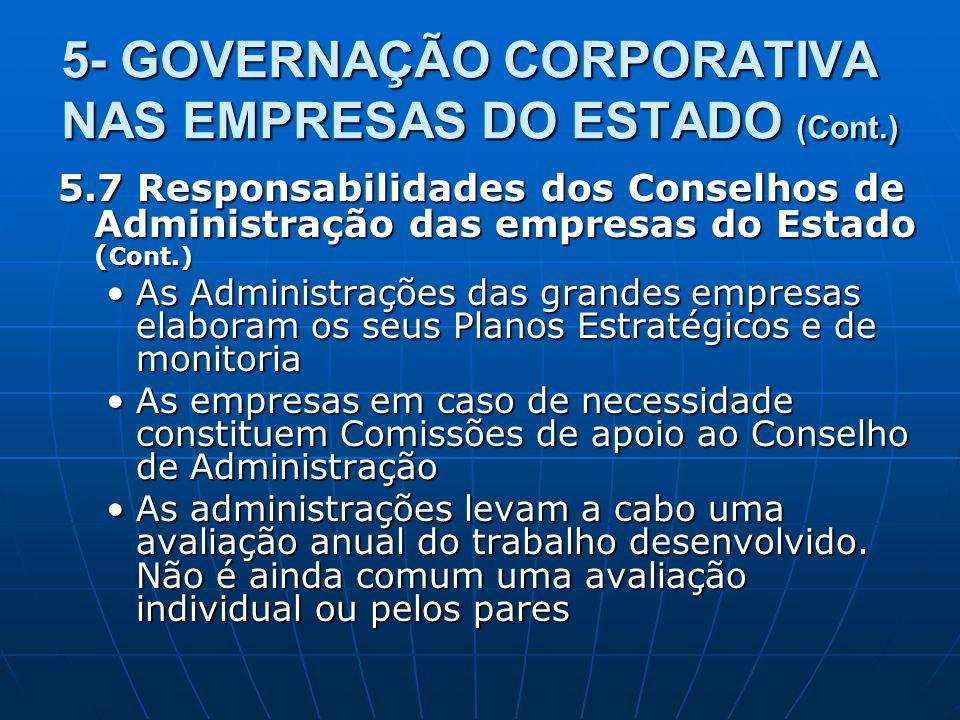 5- GOVERNAÇÃO CORPORATIVA NAS EMPRESAS DO ESTADO (Cont.) 5.7 Responsabilidades dos Conselhos de Administração das empresas do Estado ( Cont.) As Admin