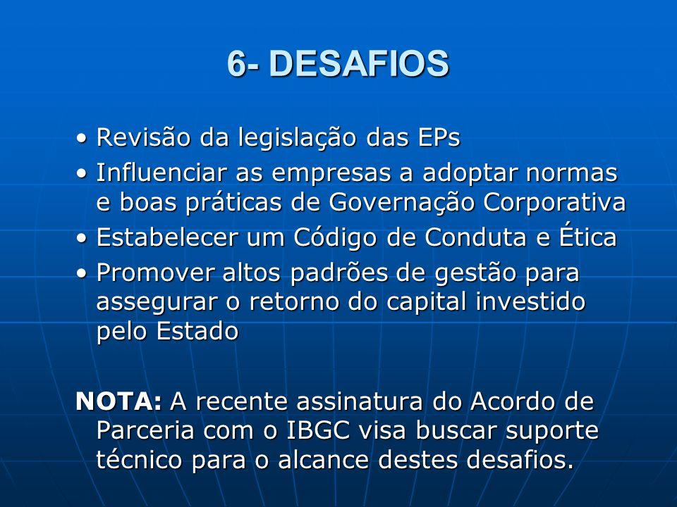 6- DESAFIOS Revisão da legislação das EPsRevisão da legislação das EPs Influenciar as empresas a adoptar normas e boas práticas de Governação Corporat