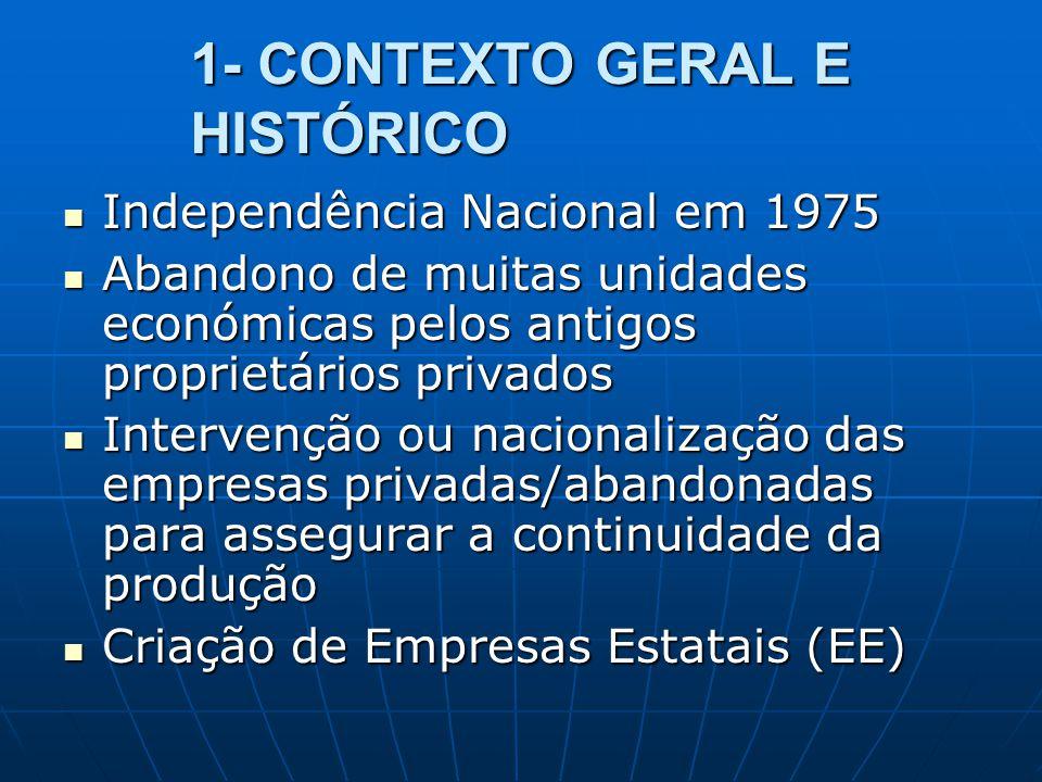 1- CONTEXTO GERAL E HISTÓRICO Independência Nacional em 1975 Independência Nacional em 1975 Abandono de muitas unidades económicas pelos antigos propr