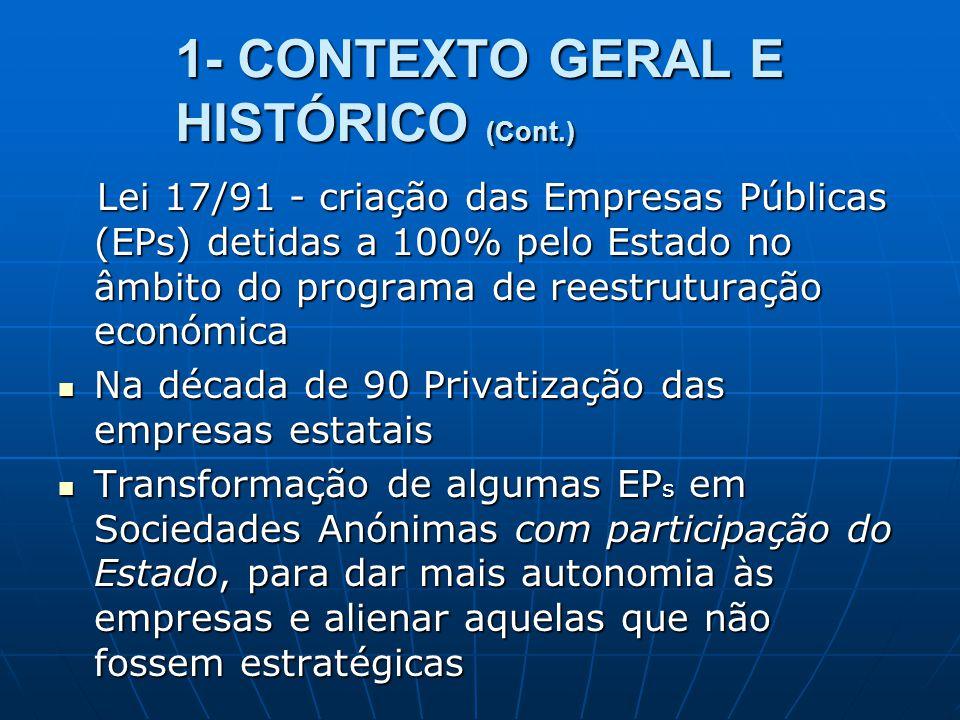 1- CONTEXTO GERAL E HISTÓRICO (Cont.) Lei 17/91 - criação das Empresas Públicas (EPs) detidas a 100% pelo Estado no âmbito do programa de reestruturaç