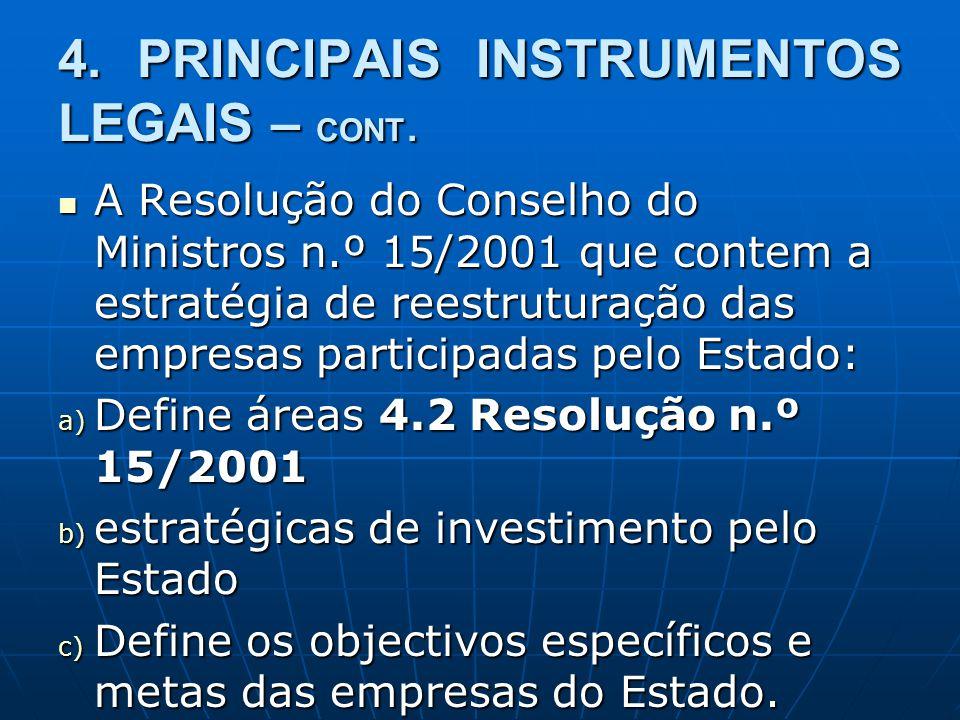 4. PRINCIPAIS INSTRUMENTOS LEGAIS – CONT. A Resolução do Conselho do Ministros n.º 15/2001 que contem a estratégia de reestruturação das empresas part
