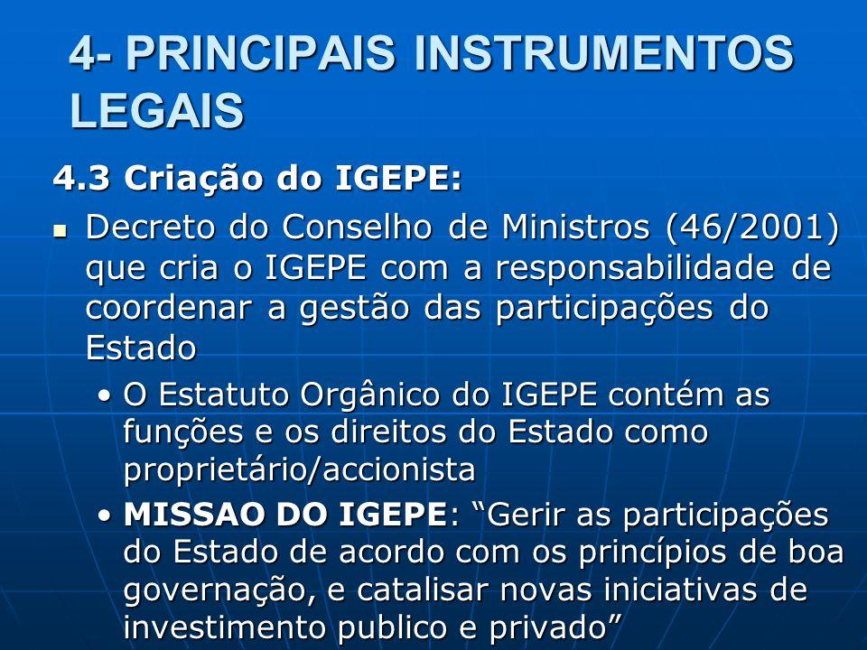 4- PRINCIPAIS INSTRUMENTOS LEGAIS 4.3 Criação do IGEPE: Decreto do Conselho de Ministros (46/2001) que cria o IGEPE com a responsabilidade de coordena