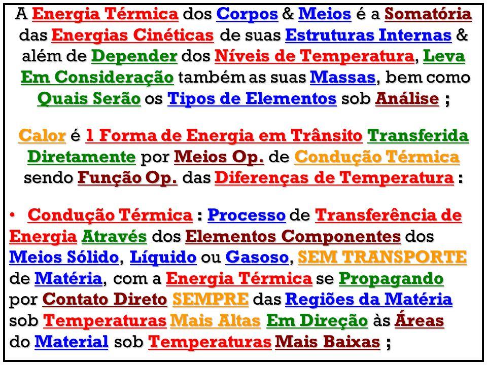 A Energia Térmica dos Corpos & Meios é a Somatória das Energias Cinéticas de suas Estruturas Internas & além de Depender dos Níveis de Temperatura, Le