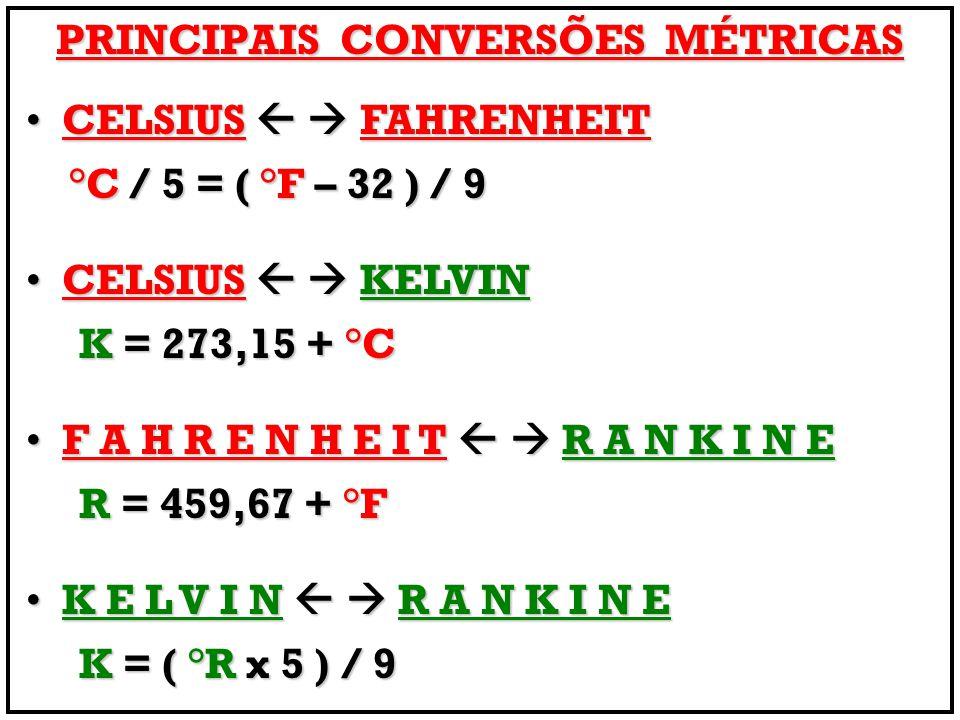 PRINCIPAIS CONVERSÕES MÉTRICAS CELSIUS FAHRENHEIT CELSIUS FAHRENHEIT °C / 5 = ( °F – 32 ) / 9 °C / 5 = ( °F – 32 ) / 9 CELSIUS KELVIN CELSIUS KELVIN K