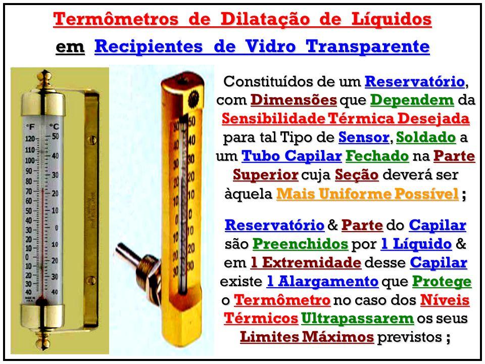 Termômetros de Dilatação de Líquidos em Recipientes de Vidro Transparente Constituídos de um Reservatório, com Dimensões que Dependem da Sensibilidade