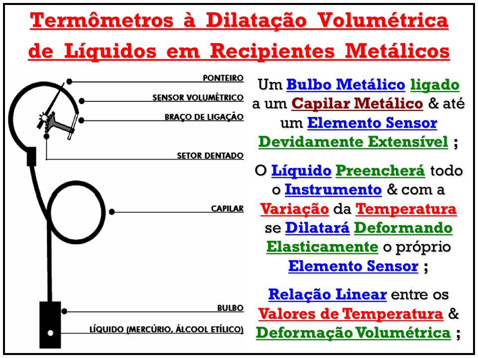 Termômetros à Dilatação Volumétrica de Líquidos em Recipientes Metálicos Um Bulbo Metálico ligado a um Capilar Metálico & até um Elemento Sensor Devid