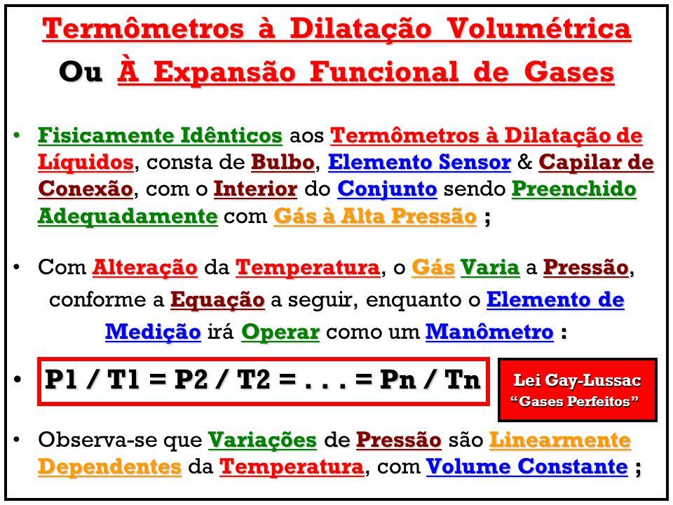 Termômetros à Dilatação Volumétrica Ou À Expansão Funcional de Gases Fisicamente IdênticosTermômetros à Dilatação de LíquidosBulboElemento SensorCapil