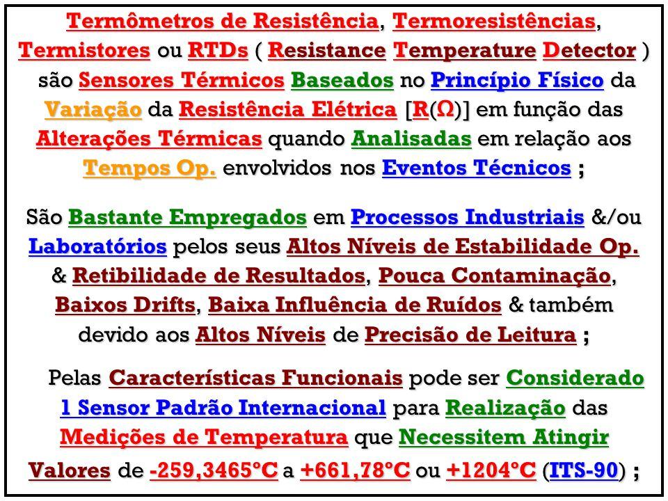 Termômetros de Resistência, Termoresistências, Termistores ou RTDs ( Resistance Temperature Detector ) são Sensores Térmicos Baseados no Princípio Fís