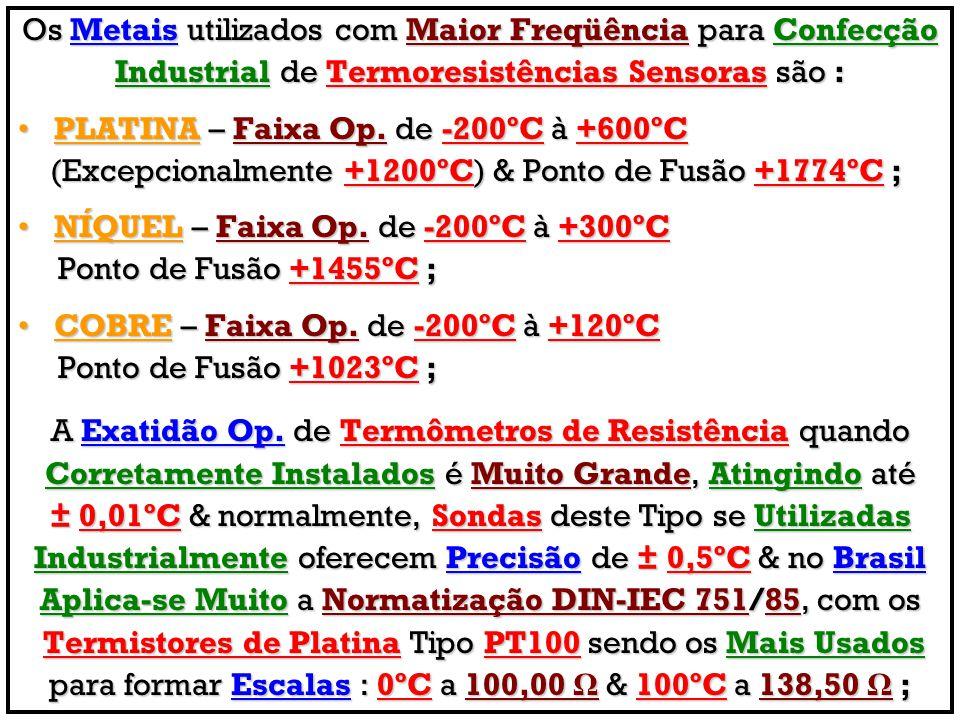 Os Metais utilizados com Maior Freqüência para Confecção Industrial de Termoresistências Sensoras são : PLATINA – Faixa Op. de -200ºC à +600ºCPLATINA