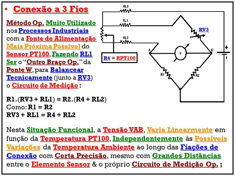 Conexão a 3 FiosConexão a 3 Fios Método Op. Muito Utilizado nos Processos Industriais com a Fonte de Alimentação Mais Próxima Possível do Sensor PT100