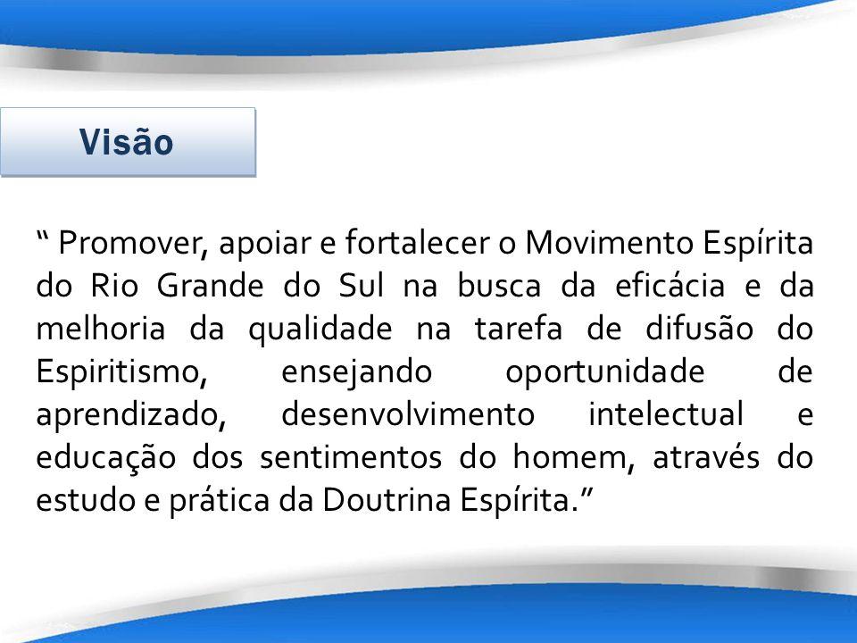 Promover, apoiar e fortalecer o Movimento Espírita do Rio Grande do Sul na busca da eficácia e da melhoria da qualidade na tarefa de difusão do Espiri