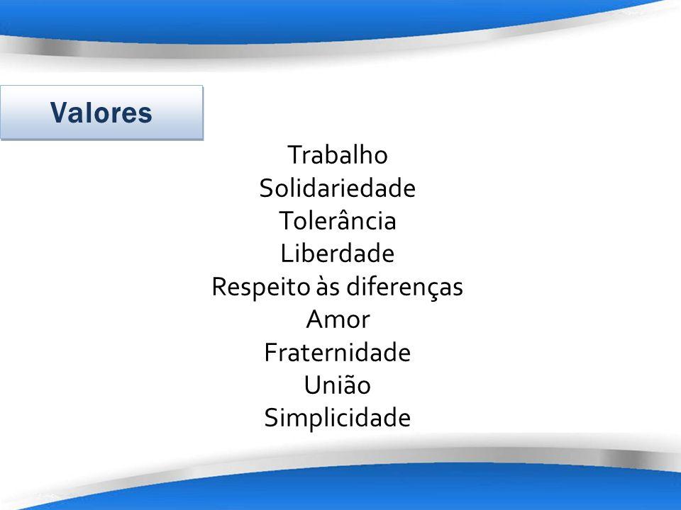 Trabalho Solidariedade Tolerância Liberdade Respeito às diferenças Amor Fraternidade União Simplicidade Valores
