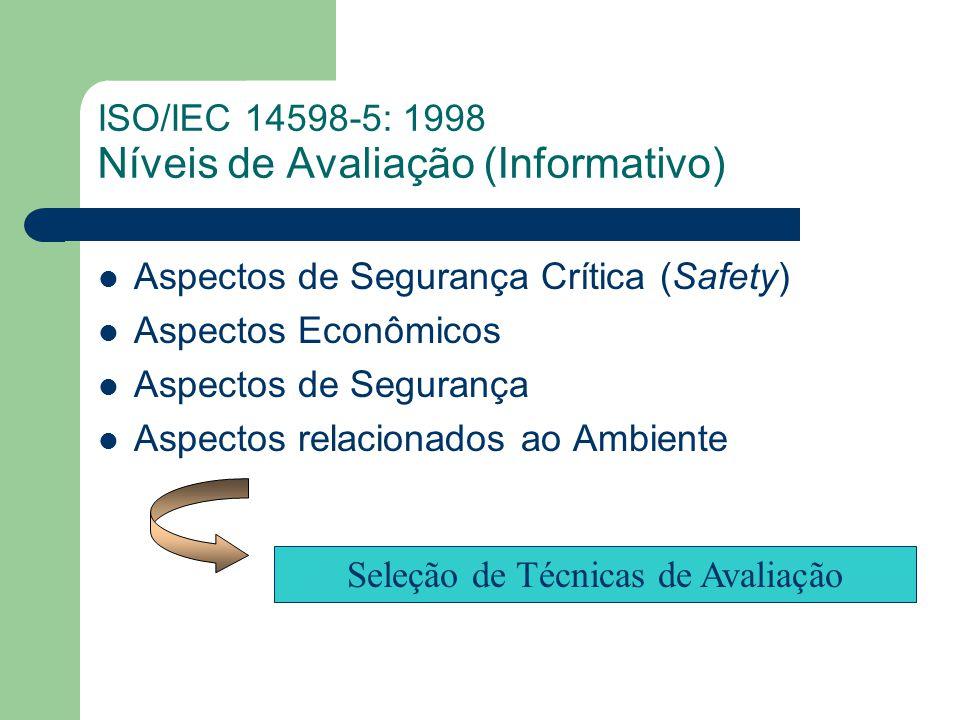 ISO/IEC 14598-5: 1998 Níveis de Avaliação (Informativo) Aspectos de Segurança Crítica (Safety) Aspectos Econômicos Aspectos de Segurança Aspectos relacionados ao Ambiente Seleção de Técnicas de Avaliação
