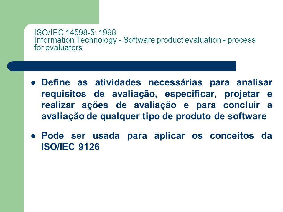 ISO/IEC 14598-5: 1998 Information Technology - Software product evaluation - process for evaluators Define as atividades necessárias para analisar requisitos de avaliação, especificar, projetar e realizar ações de avaliação e para concluir a avaliação de qualquer tipo de produto de software Pode ser usada para aplicar os conceitos da ISO/IEC 9126