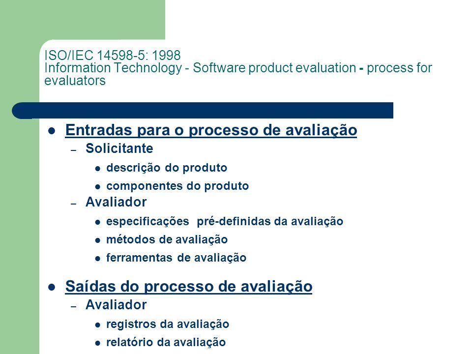 Entradas para o processo de avaliação – Solicitante descrição do produto componentes do produto – Avaliador especificações pré-definidas da avaliação métodos de avaliação ferramentas de avaliação Saídas do processo de avaliação – Avaliador registros da avaliação relatório da avaliação ISO/IEC 14598-5: 1998 Information Technology - Software product evaluation - process for evaluators