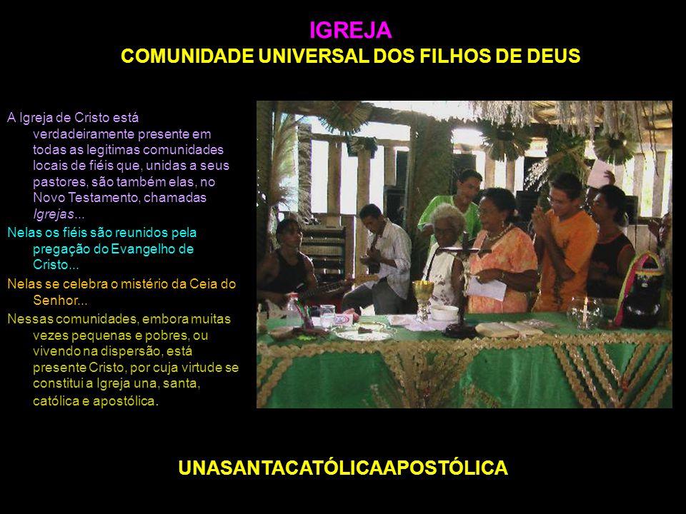 IGREJA COMUNIDADE UNIVERSAL DOS FILHOS DE DEUS A Igreja de Cristo está verdadeiramente presente em todas as legitimas comunidades locais de fiéis que,