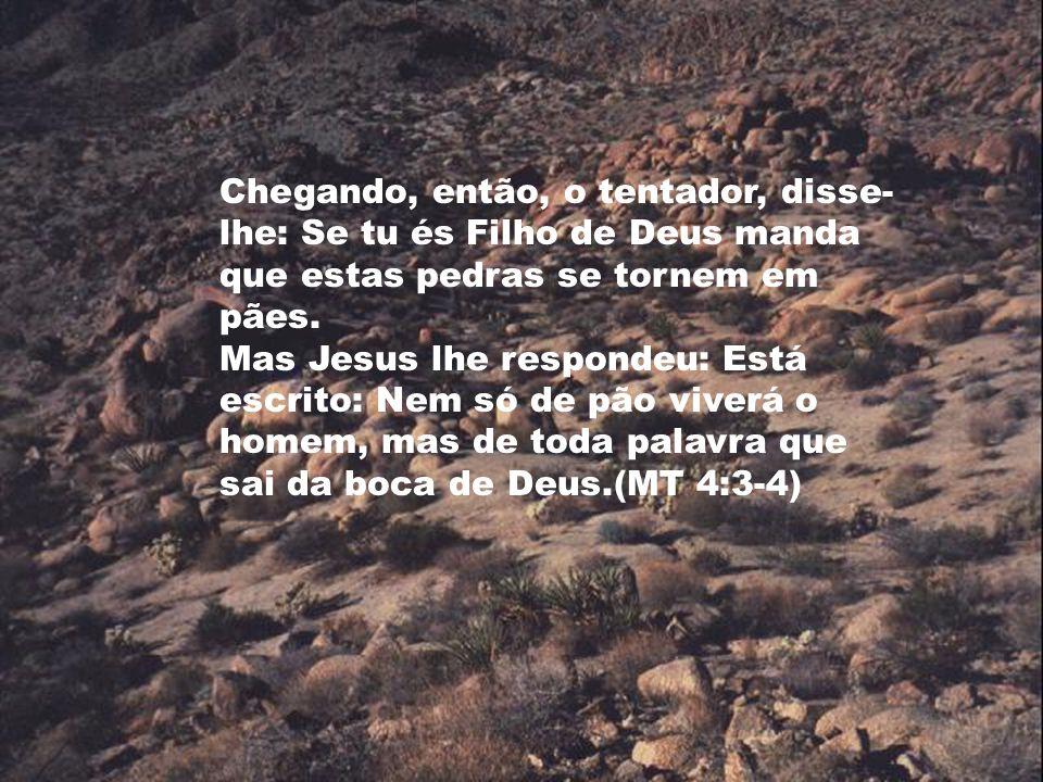 Chegando, então, o tentador, disse- lhe: Se tu és Filho de Deus manda que estas pedras se tornem em pães. Mas Jesus lhe respondeu: Está escrito: Nem s
