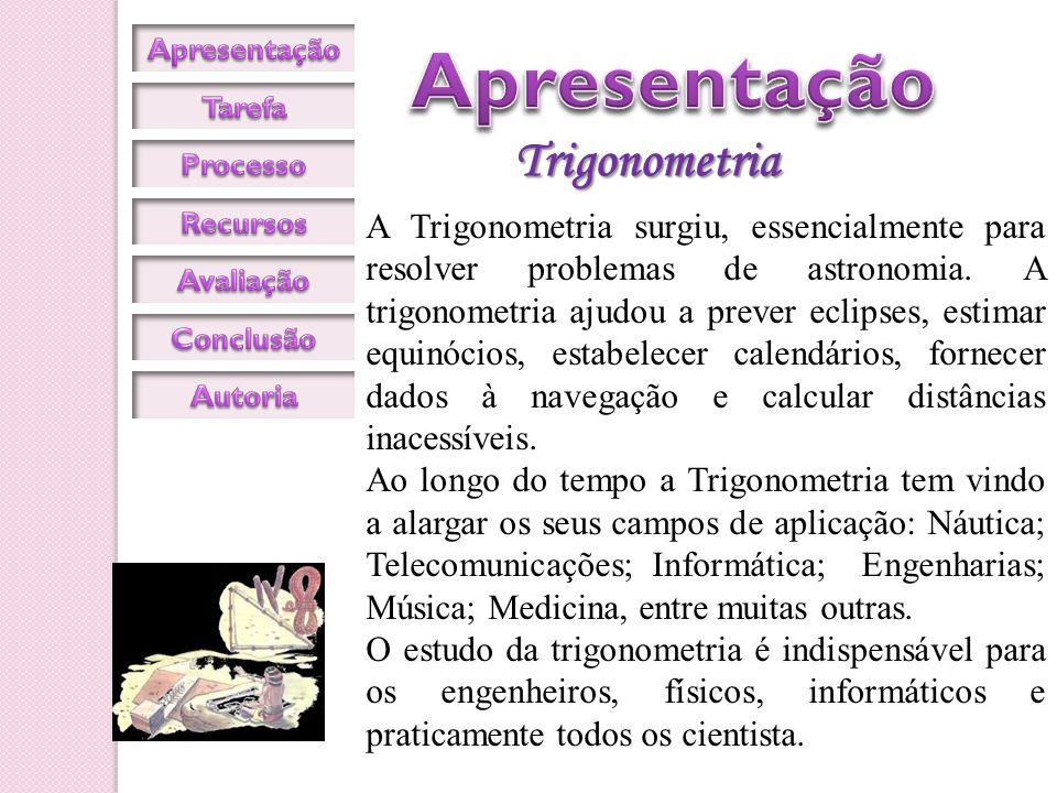 O que te proponho é que faça uma investigação sobre as várias aplicações da Trigonometria.