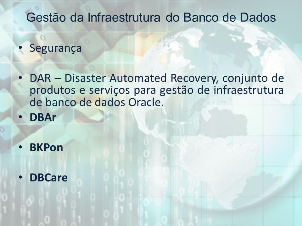 Gestão da Infraestrutura do Banco de Dados Segurança DAR – Disaster Automated Recovery, conjunto de produtos e serviços para gestão de infraestrutura