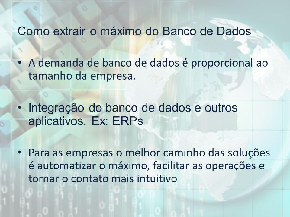 Como extrair o máximo do Banco de Dados A demanda de banco de dados é proporcional ao tamanho da empresa. Integração do banco de dados e outros aplica
