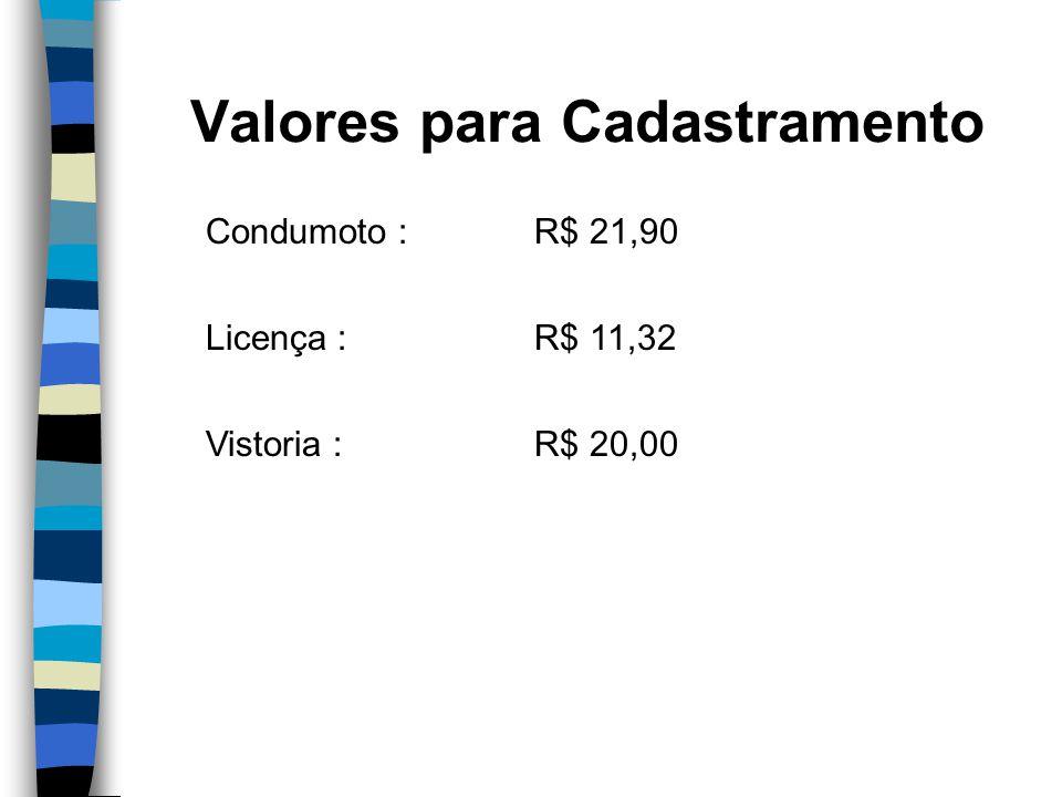 Valores para Cadastramento Condumoto : R$ 21,90 Licença : R$ 11,32 Vistoria : R$ 20,00