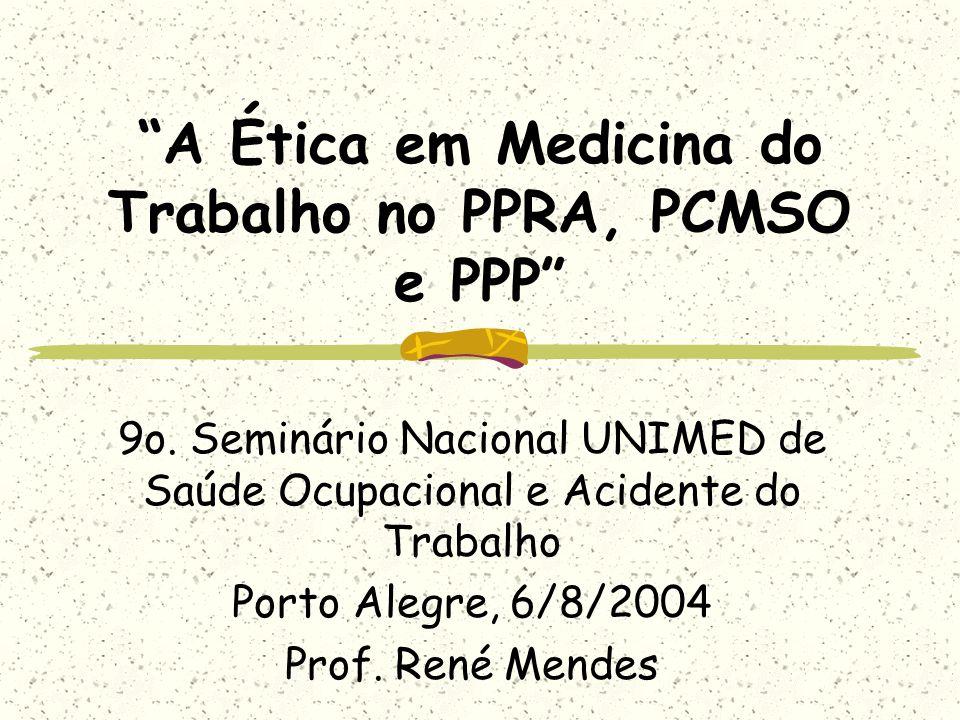 A Ética em Medicina do Trabalho no PPRA, PCMSO e PPP 9o. Seminário Nacional UNIMED de Saúde Ocupacional e Acidente do Trabalho Porto Alegre, 6/8/2004
