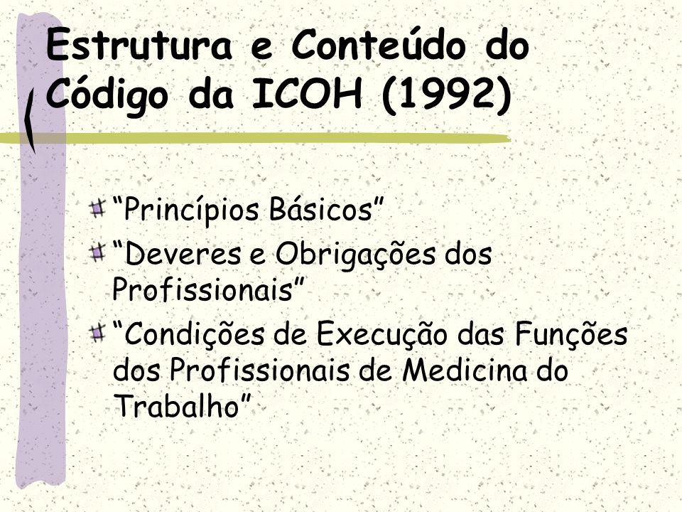 Estrutura e Conteúdo do Código da ICOH (1992) Princípios Básicos Deveres e Obrigações dos Profissionais Condições de Execução das Funções dos Profissi