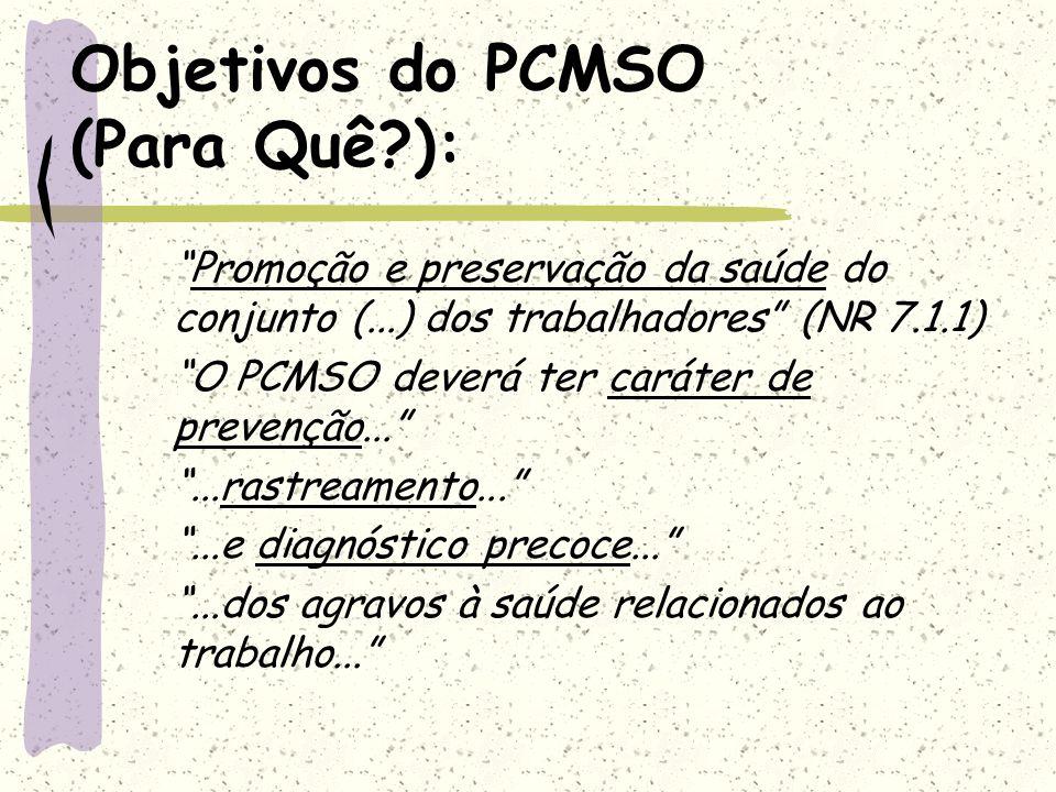 Objetivos do PCMSO (Para Quê?): Promoção e preservação da saúde do conjunto (...) dos trabalhadores (NR 7.1.1) O PCMSO deverá ter caráter de prevenção