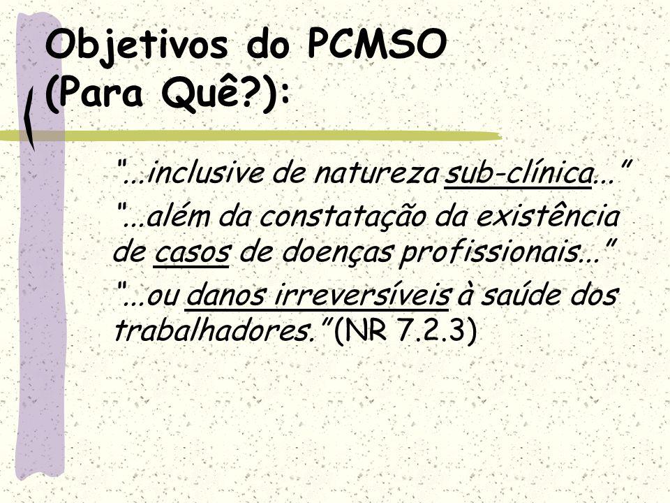 Objetivos do PCMSO (Para Quê?):...inclusive de natureza sub-clínica......além da constatação da existência de casos de doenças profissionais......ou d