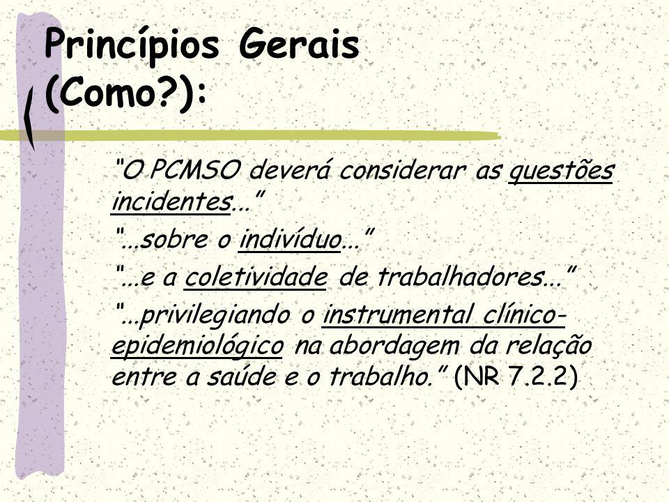 Princípios Gerais (Como?): O PCMSO deverá considerar as questões incidentes......sobre o indivíduo......e a coletividade de trabalhadores......privile