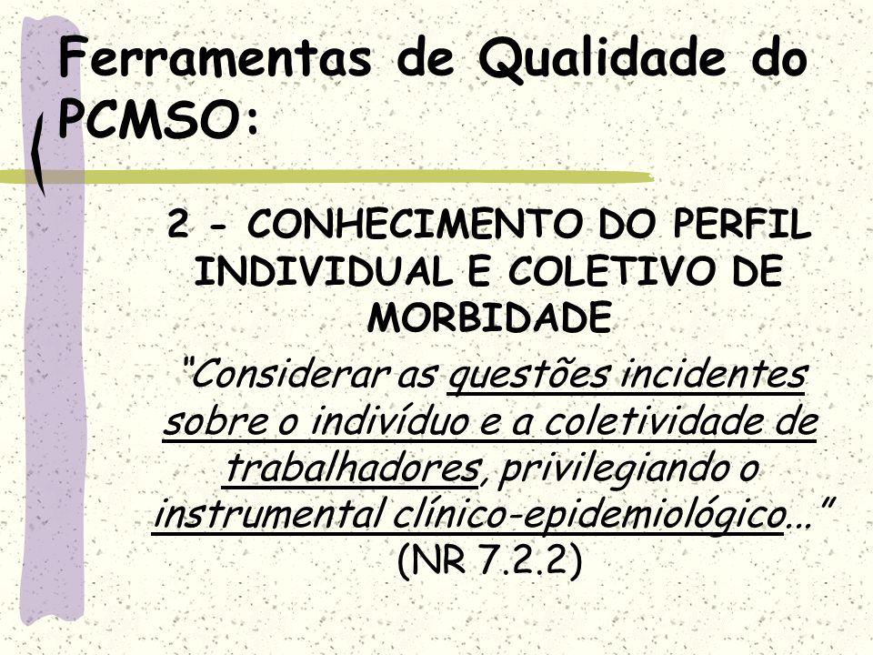 Ferramentas de Qualidade do PCMSO: 2 - CONHECIMENTO DO PERFIL INDIVIDUAL E COLETIVO DE MORBIDADE Considerar as questões incidentes sobre o indivíduo e