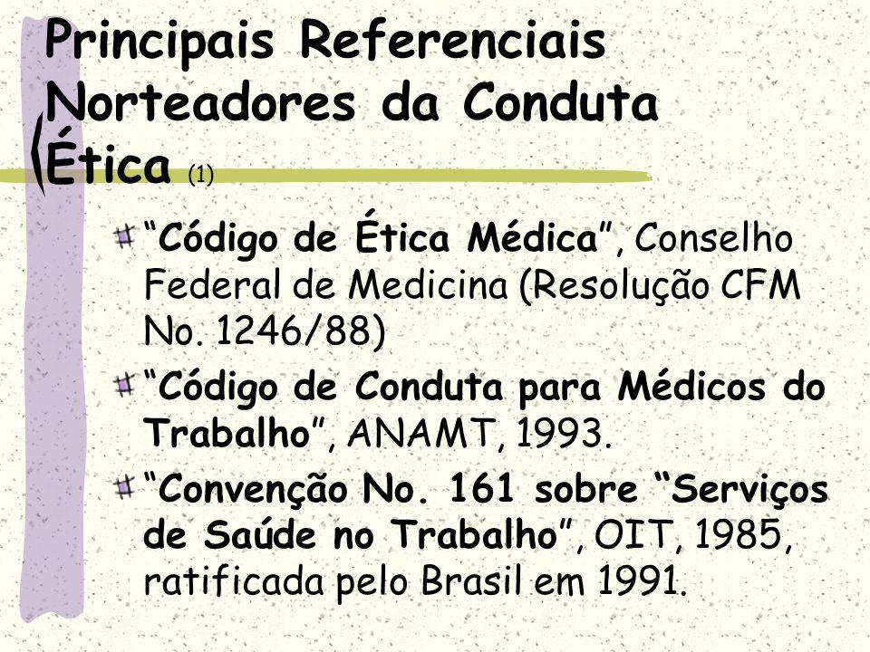 Principais Referenciais Norteadores da Conduta Ética (1) Código de Ética Médica, Conselho Federal de Medicina (Resolução CFM No. 1246/88) Código de Co