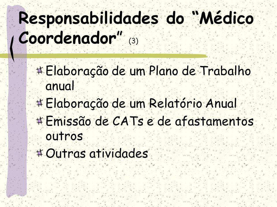 Responsabilidades do Médico Coordenador (3) Elaboração de um Plano de Trabalho anual Elaboração de um Relatório Anual Emissão de CATs e de afastamento