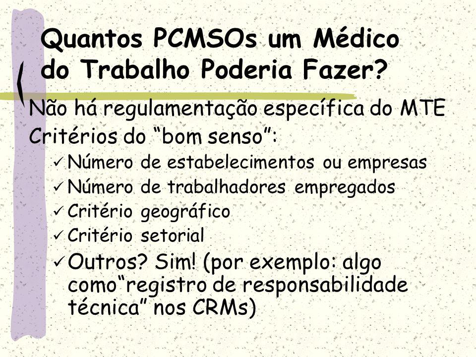 Quantos PCMSOs um Médico do Trabalho Poderia Fazer? Não há regulamentação específica do MTE Critérios do bom senso: Número de estabelecimentos ou empr