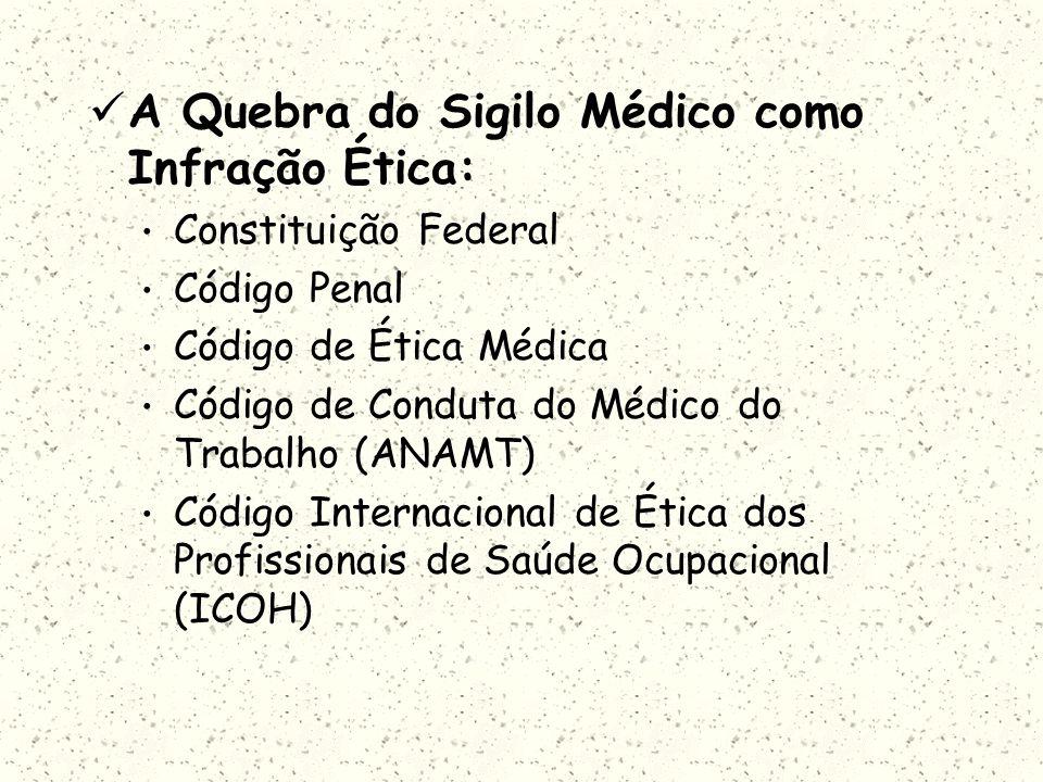 A Quebra do Sigilo Médico como Infração Ética: Constituição Federal Código Penal Código de Ética Médica Código de Conduta do Médico do Trabalho (ANAMT