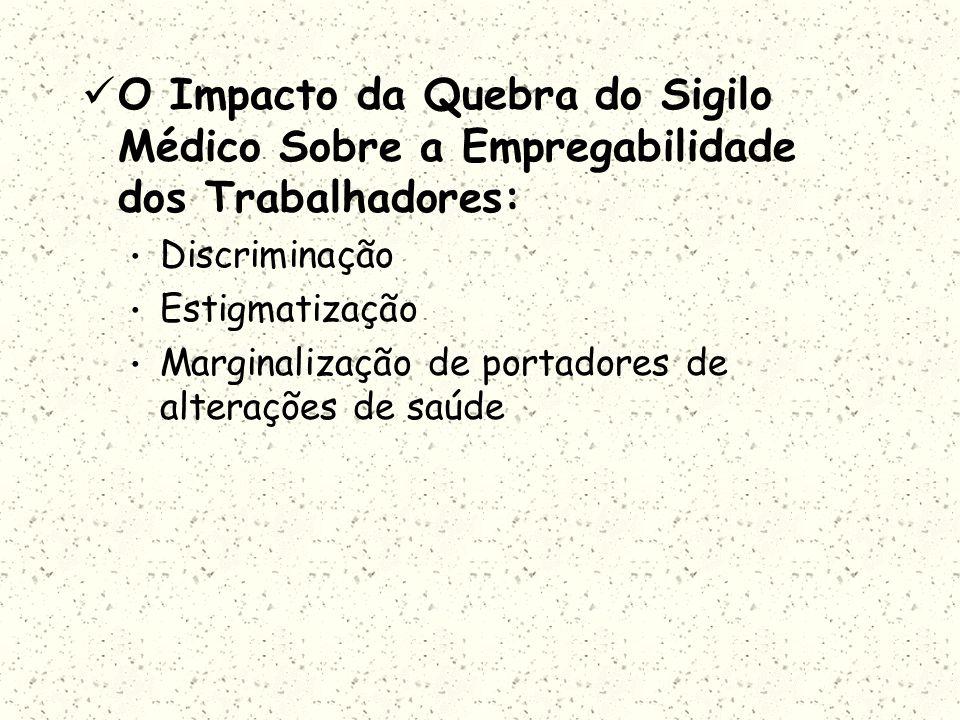 O Impacto da Quebra do Sigilo Médico Sobre a Empregabilidade dos Trabalhadores: Discriminação Estigmatização Marginalização de portadores de alteraçõe