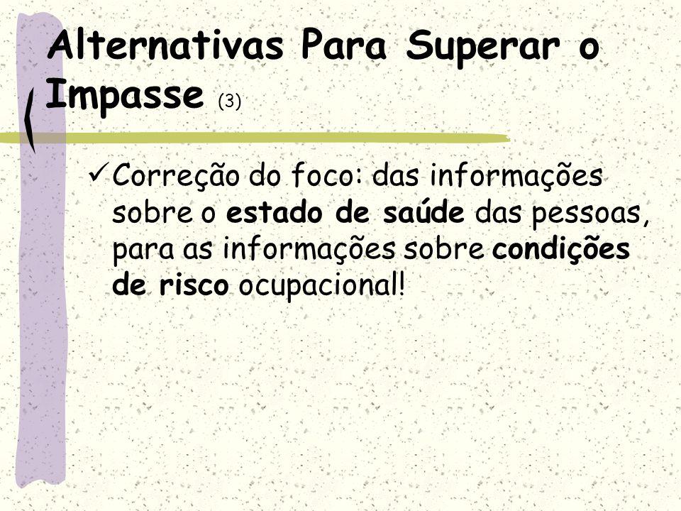 Alternativas Para Superar o Impasse (3) Correção do foco: das informações sobre o estado de saúde das pessoas, para as informações sobre condições de