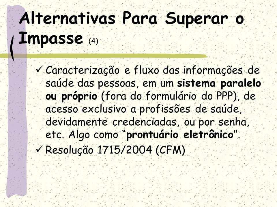 Alternativas Para Superar o Impasse (4) Caracterização e fluxo das informações de saúde das pessoas, em um sistema paralelo ou próprio (fora do formul