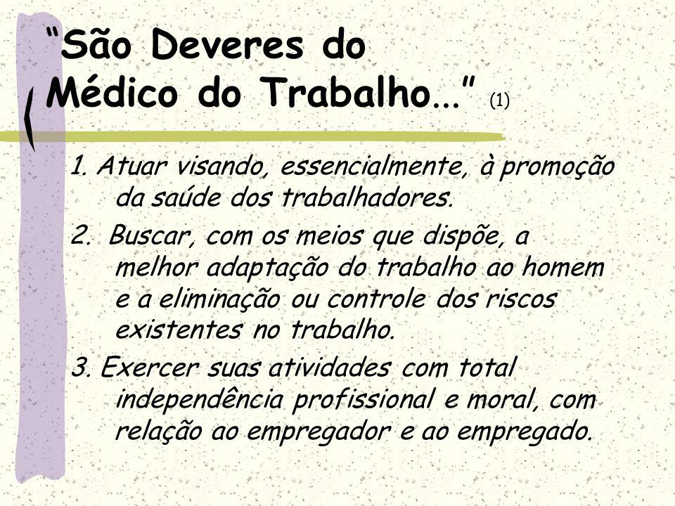 São Deveres do Médico do Trabalho...(2) 4.