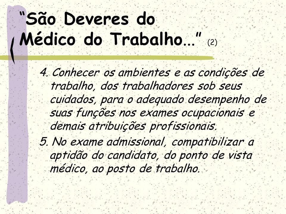 São Deveres do Médico do Trabalho...(3) 6.