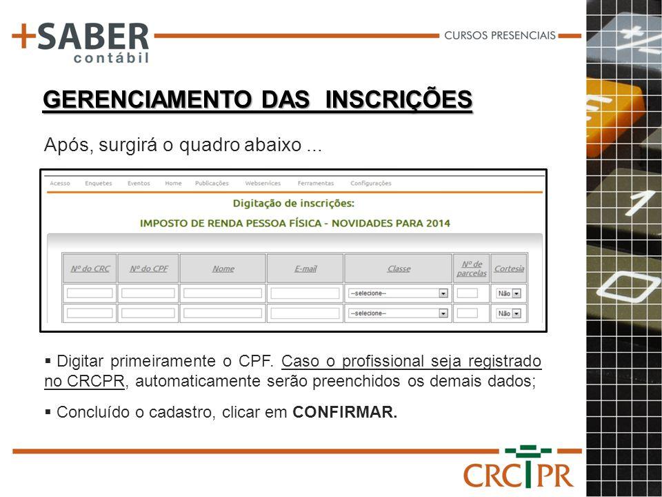 GERENCIAMENTO DAS INSCRIÇÕES Digitar primeiramente o CPF. Caso o profissional seja registrado no CRCPR, automaticamente serão preenchidos os demais da