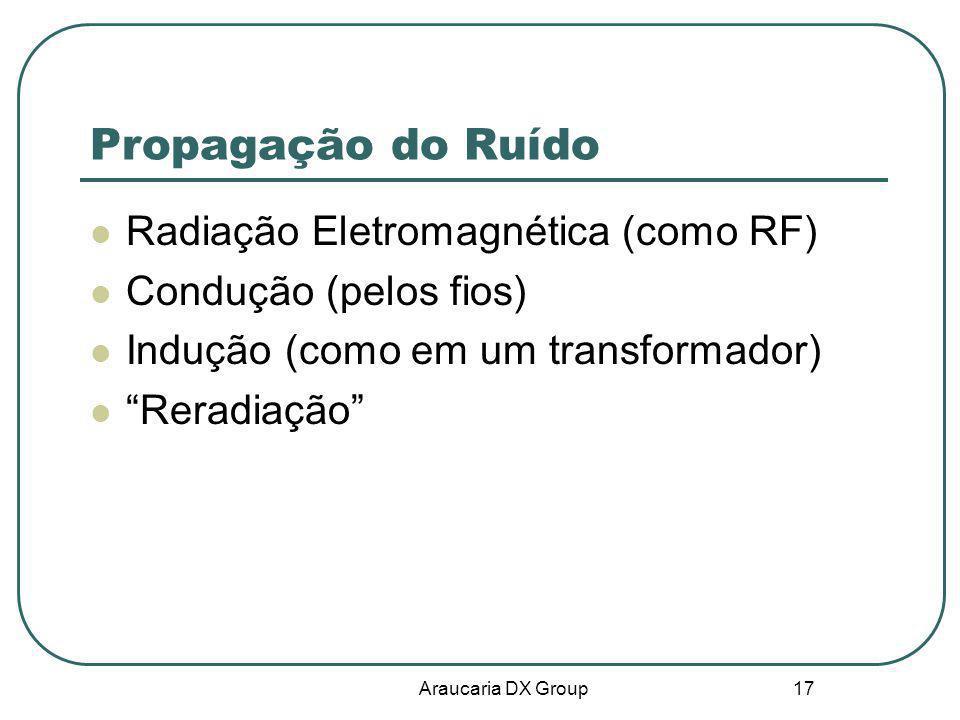 Araucaria DX Group 17 Propagação do Ruído Radiação Eletromagnética (como RF) Condução (pelos fios) Indução (como em um transformador) Reradiação