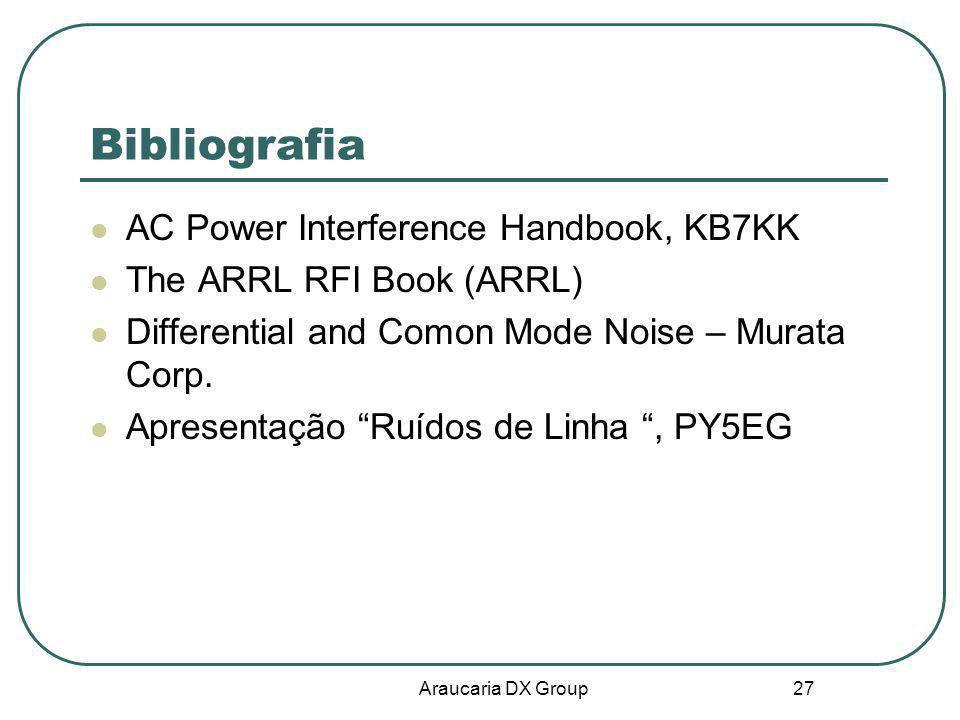 Araucaria DX Group 27 Bibliografia AC Power Interference Handbook, KB7KK The ARRL RFI Book (ARRL) Differential and Comon Mode Noise – Murata Corp. Apr