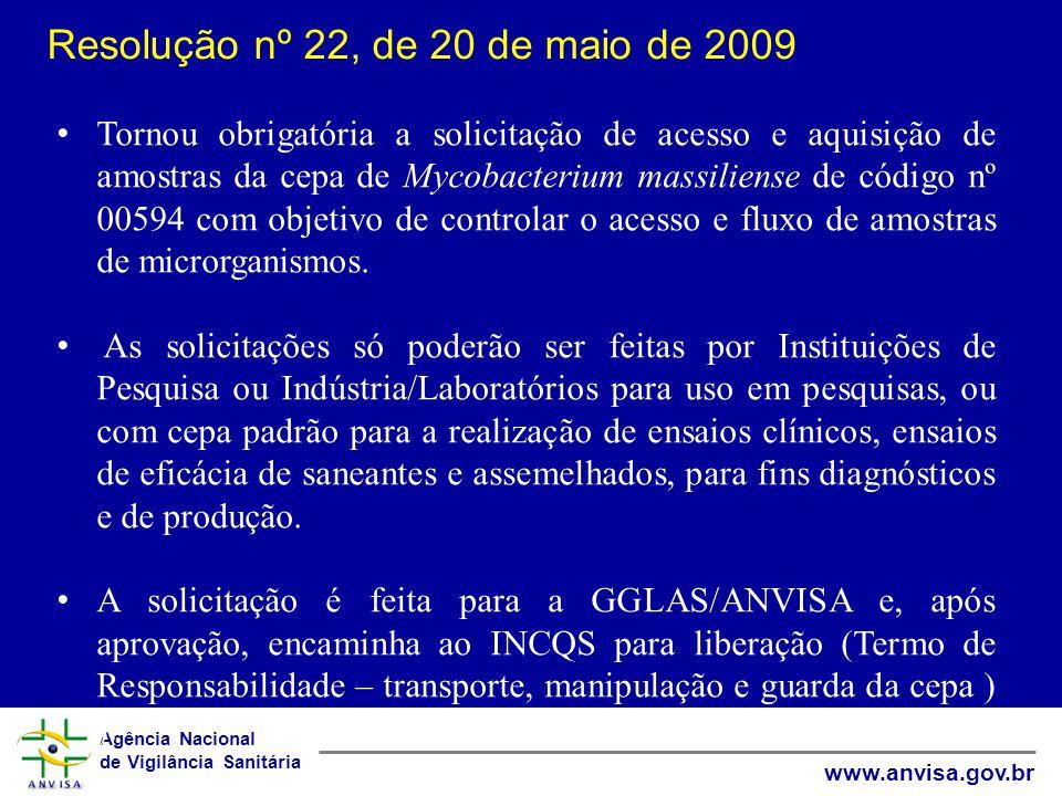 Agência Nacional de Vigilância Sanitária www.anvisa.gov.br Resolução nº 22, de 20 de maio de 2009 Tornou obrigatória a solicitação de acesso e aquisição de amostras da cepa de Mycobacterium massiliense de código nº 00594 com objetivo de controlar o acesso e fluxo de amostras de microrganismos.