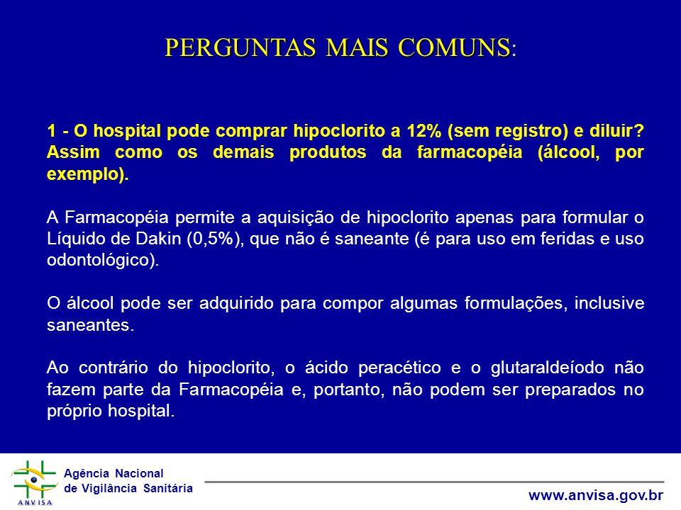 Agência Nacional de Vigilância Sanitária www.anvisa.gov.br PERGUNTAS MAIS COMUNS : 1 - O hospital pode comprar hipoclorito a 12% (sem registro) e diluir.