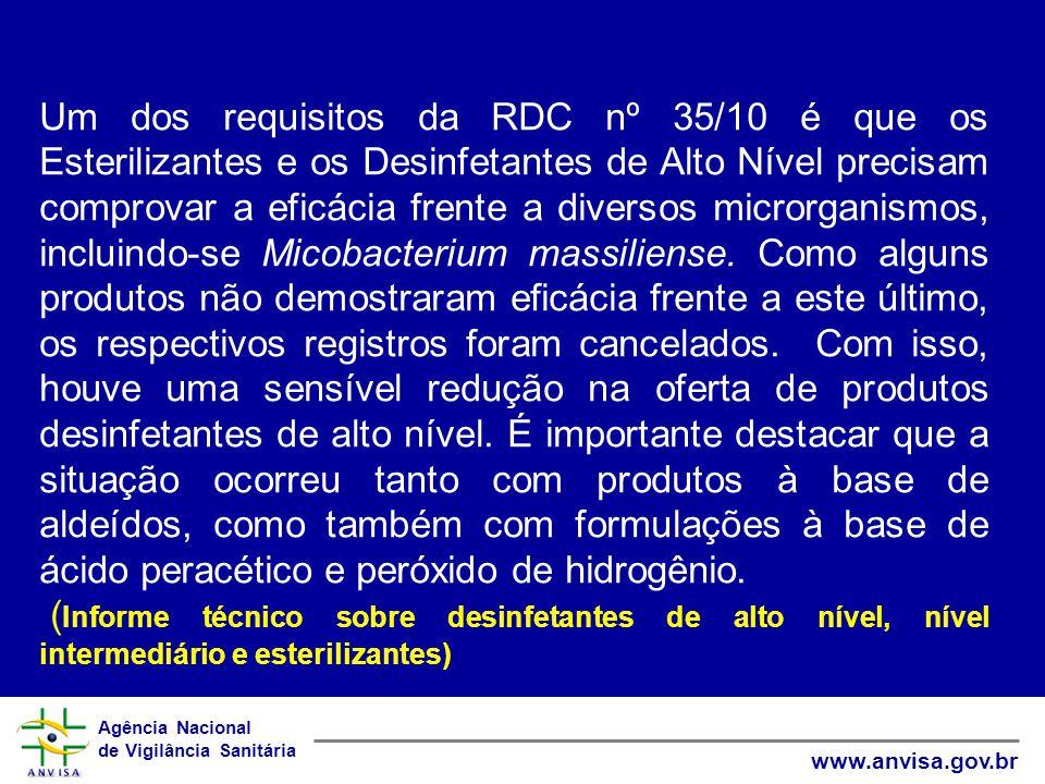 Agência Nacional de Vigilância Sanitária www.anvisa.gov.br Um dos requisitos da RDC nº 35/10 é que os Esterilizantes e os Desinfetantes de Alto Nível precisam comprovar a eficácia frente a diversos microrganismos, incluindo-se Micobacterium massiliense.