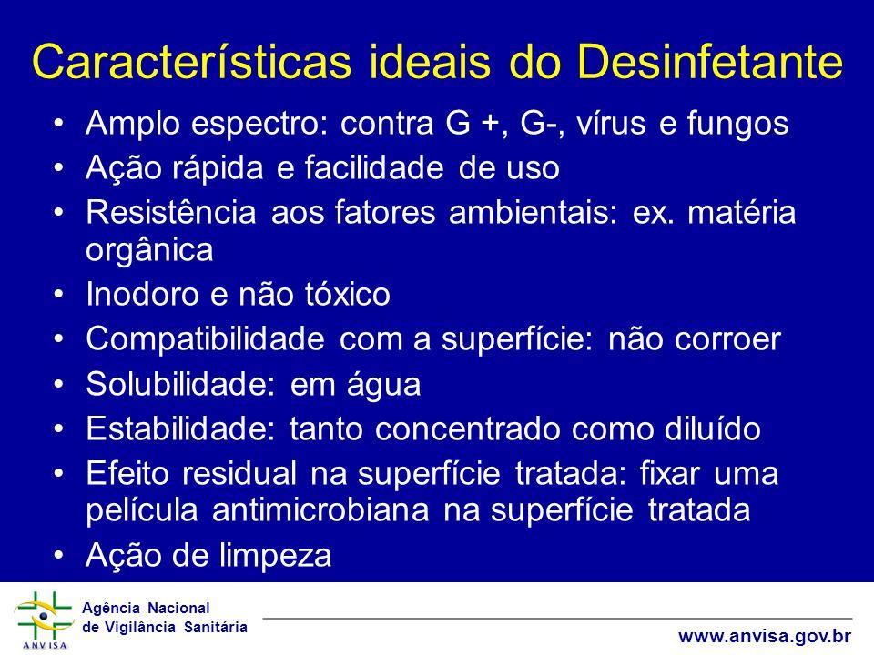 Agência Nacional de Vigilância Sanitária www.anvisa.gov.br Características ideais do Desinfetante Amplo espectro: contra G +, G-, vírus e fungos Ação rápida e facilidade de uso Resistência aos fatores ambientais: ex.
